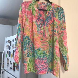Lilly pulitzer Elsa silk blouse large